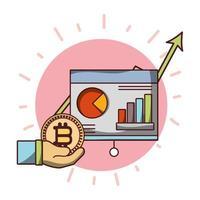 hand met bitcoin cryptocurrency geld uptrend board presentaton business