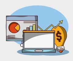 geld zakelijke financiële analysegegevens en investeringen vector