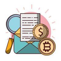 bitcoin munten dollar e-mail data-analyse cryptocurrency digitaal geld