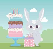 gelukkige verjaardag, schattig konijn met zoete cake en cadeau-viering decoratie cartoon