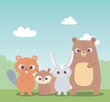 schattige bever eekhoorn beer en kleine konijn tekenfilm dieren vector