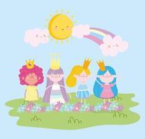 klein feeënprinseskarakter met kroonbloemen en regenboogverhaalbeeldverhaal vector