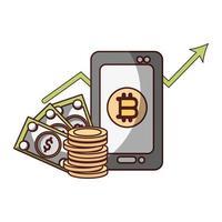 bitcoin smartphone bankbiljet dollar cryptocurrency transactie digitaal geld vector