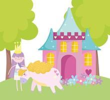 kleine sprookjesprinses met schattig eenhoornkasteel en bloemenverhaalbeeldverhaal
