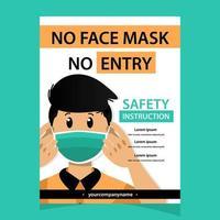 coronavirus gezichtsmasker bescherming poster sjabloon