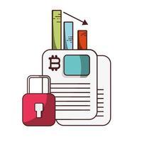 bitcoin data munten grafiek cryptocurrency transactie digitaal geld vector