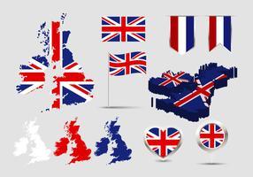 Britse eilanden kaart vlag Vector