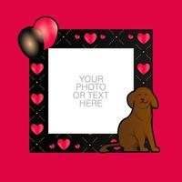 fotolijst met cartoon hond en ballonnen ontwerp