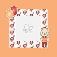 fotolijst met cartoon kat en ballonnen ontwerp