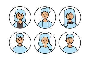verzameling van doodle jongeren avatar vector