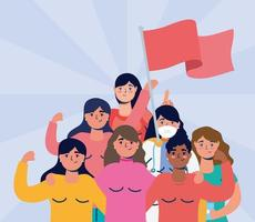 interraciale vrouwen protesteren met vlaggen