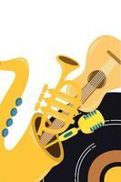 muziek vinyl schijf met instrumenten