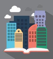 Stad in het boek vector