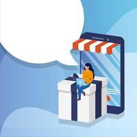 online e-commerce winkelen met vrouw met behulp van laptop en smartphone