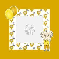 fotolijst met cartoon olifant en ballonnen ontwerp