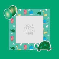 fotolijst met cartoon schildpad en ballonnen ontwerp