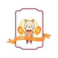 baby dier kat label met lint