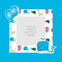 fotolijst met cartoon walvis en ballonnen ontwerp