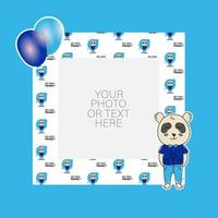 fotolijst met cartoon panda en ballonnen ontwerp