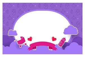 paars baby shower kaartsjabloonontwerp voor afdrukken