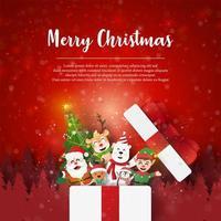 kerstkaart met de kerstman en vrienden in cadeau, papieren kunststijl