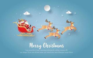 kerstkaart met de kerstman en rendieren