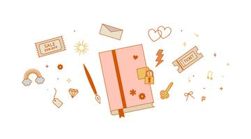 Intieme dagboek Vector