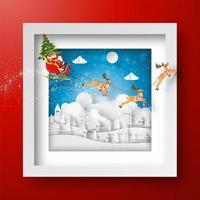 Kerstkader met de kerstman en rendieren