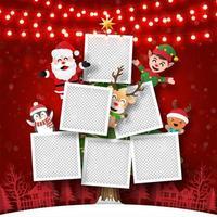kerstkaart van fotolijst kerstboom met de kerstman en vrienden, papieren kunststijl