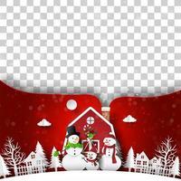 Kerst ansichtkaart van rood huis met sneeuwpop, lege ruimte voor uw tekst of foto