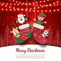 kerstman en vrienden in xmas sokken op kerst briefkaart