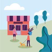 vrouw en man met hond bij park en winkel vector design