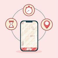 smartphone met leveringskaart en koopknop vectorontwerp