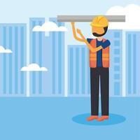bouwman met helm bij stad vectorontwerp