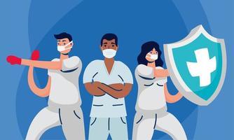mannelijke en vrouwelijke artsen met uniformenmaskers en schild vectorontwerp