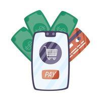 smartphone met winkelwagentje en creditcard