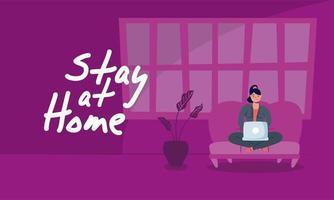 vrouw met laptop in bank thuisblijven campagne