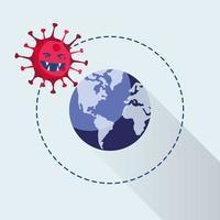 covid19 pandemisch deeltje met wereldplaneet