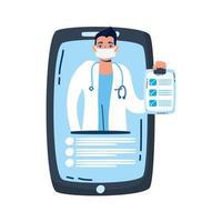 professionele arts met een stethoscoop in smartphone