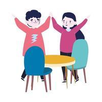 groep mensen samen om een speciale gebeurtenis te vieren, grappig paar met handen omhoog vieren