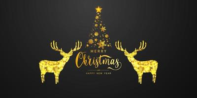 prettige kerstdagen en gelukkig nieuwjaar achtergrond. viering achtergrond sjabloon met herten bokeh. luxe groet rijke kaart. vector