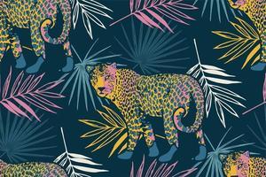 tropisch naadloos patroon met palmbladeren en luipaard.