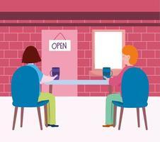 sociaal afstandelijk restaurant of een café, achteraanzicht koppel met koffiekopjes afstand houden, covid 19 coronavirus, nieuw normaal leven vector