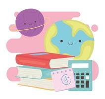terug naar school, boeken rekenmachine papier en planeten onderwijs cartoon