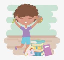 terug naar school, student jongen met palet kleur penseel en boeken onderwijs cartoon
