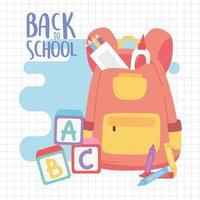 terug naar school, rugzak lijm potloden blokken alfabet onderwijs cartoon