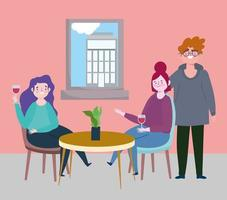 sociaal afstandelijk restaurant of een café, stel en vrouw die wijn drinken aan tafel, covid 19 coronavirus, nieuw normaal leven vector