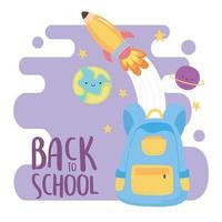 terug naar school, rugzakraket en cartoon van het planetenonderwijs