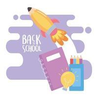 terug naar school, raket notebook kleurpotloden creativiteit onderwijs cartoon