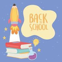 terug naar school, boeken reageerbuis raket onderwijs cartoon